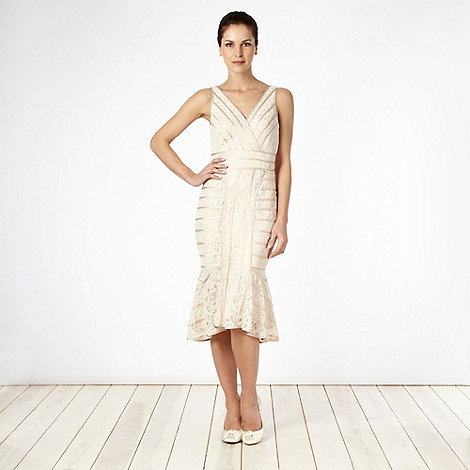Debut - Light gold lace overlay flared hem cocktail dress