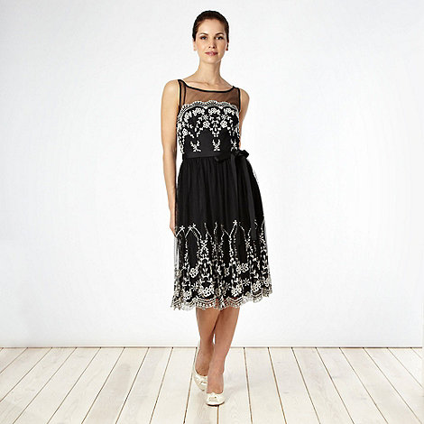 Debut - Black embroidered mesh cocktail dress