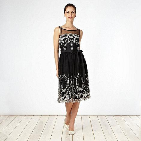 Debut - Black embroidered mesh cocktail dress
