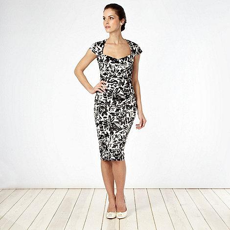 Debut - Black floral satin shift cocktail dress