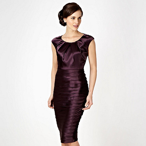 Debut - Dark purple satin tiered party dress
