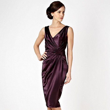 Debut - Dark purple asymmetric tucked satin party dress