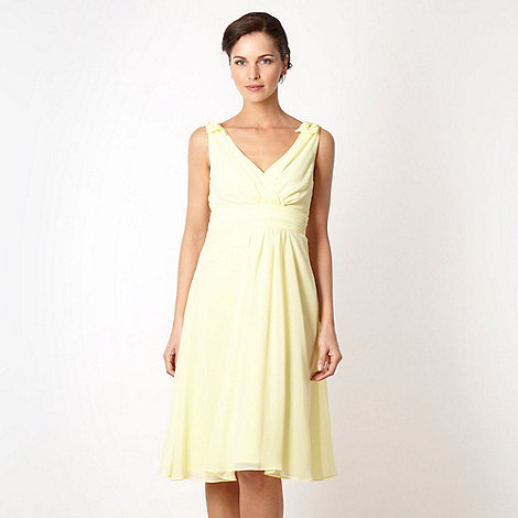 Debut - Light yellow pleated chiffon dress