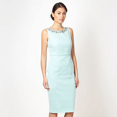 Debut - Aqua embellished neck shift dress