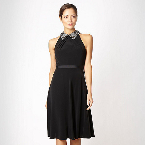 No. 1 Jenny Packham - Black embellished collar shift dress