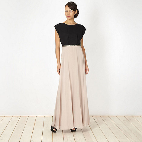 No. 1 Jenny Packham - Designer black colour block maxi dress
