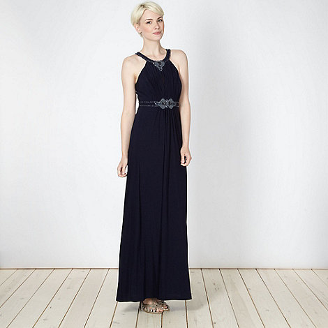 No. 1 Jenny Packham - Navy beaded empire line jersey dress