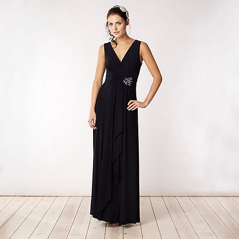 No. 1 Jenny Packham - Dark blue diamante wrap jersey maxi dress