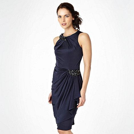No. 1 Jenny Packham - Navy asymmetric draped jersey dress