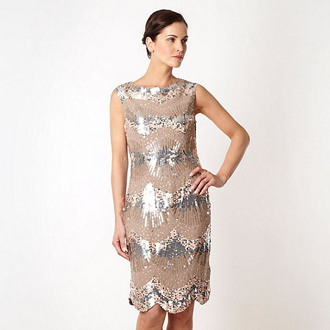 No. 1 Jenny Packham - Peach metallic sequin dress