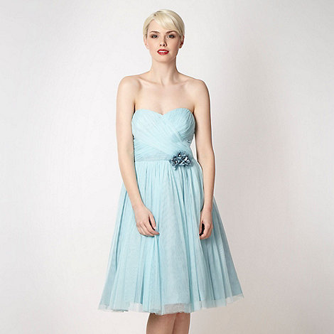 No. 1 Jenny Packham - Aqua mesh corsage prom dress