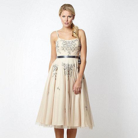 No. 1 Jenny Packham - Designer light gold floral embellished prom dress