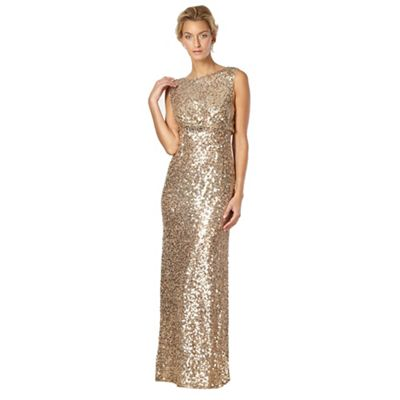 Designer gold sequin embellished maxi dress