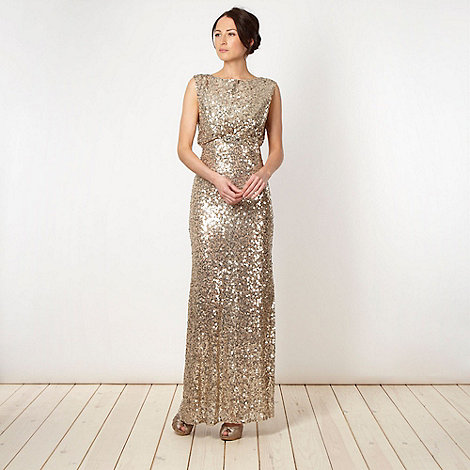 No. 1 Jenny Packham - Designer gold sequin mesh maxi dress