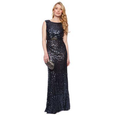 Designer navy sequin maxi dress