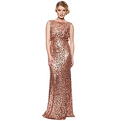 No. 1 Jenny Packham - Designer rose gold natural sequin maxi dress