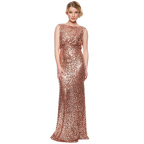No. 1 Jenny Packham - Designer rose gold natural sequin maxi dress