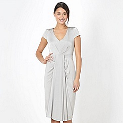 No. 1 Jenny Packham - Designer silver jersey pleat dress