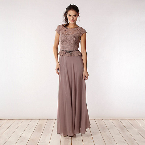 No. 1 Jenny Packham - Designer taupe lace bodice maxi dress