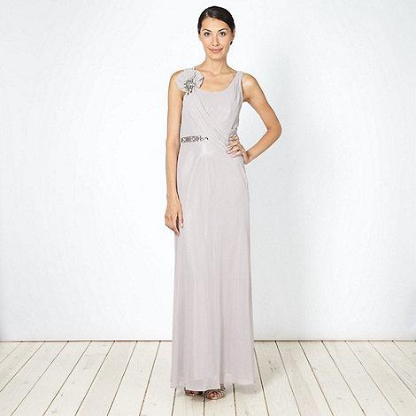 No. 1 Jenny Packham - Designer light brown embellished drape front maxi dress