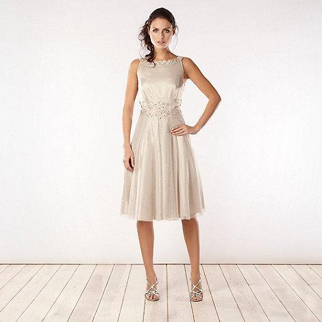 No. 1 Jenny Packham - Light gold appliqued diamante flower prom dress