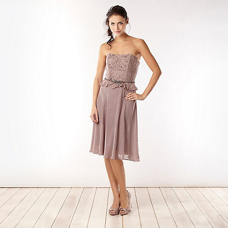 No. 1 Jenny Packham - Designer taupe lace bodice midi dress