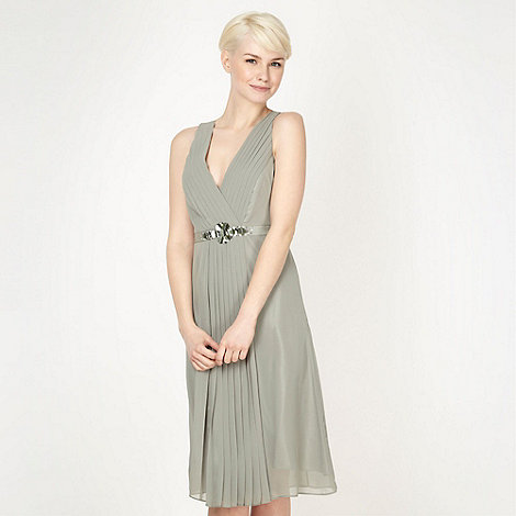 No. 1 Jenny Packham - Designer light green embellished waist midi dress