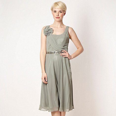 No. 1 Jenny Packham - Online exclusive light green asymmetric draped midi dress
