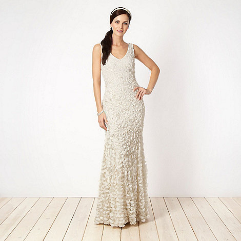 Principles by Ben de Lisi - Designer ivory appliqued floral bridal dress