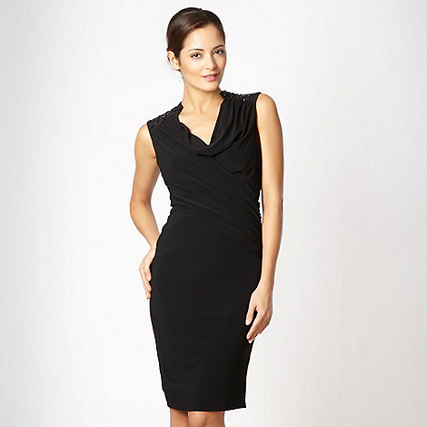 Pearce II Fionda - Black embellished cross over jersey dress
