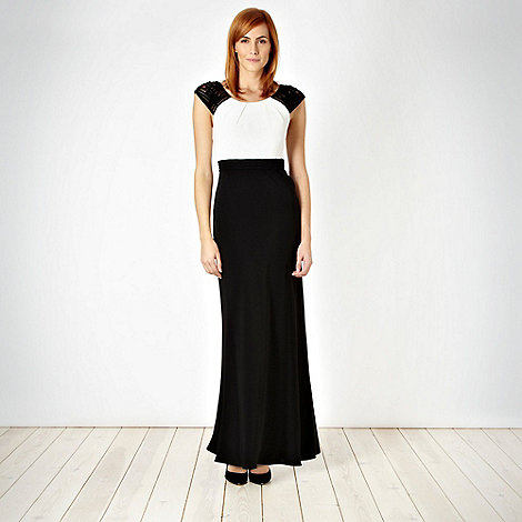 Pearce II Fionda - Designer black embellished shoulder maxi dress