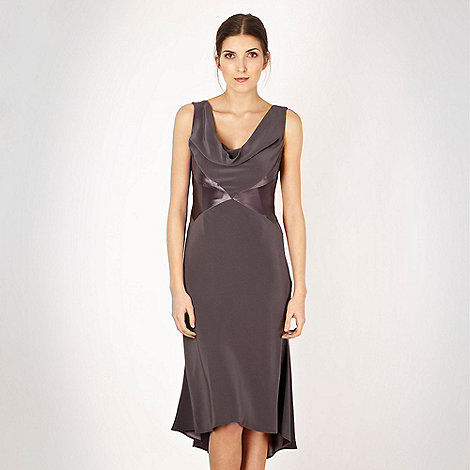 Pearce II Fionda - Designer dark grey matte and shine cocktail dress