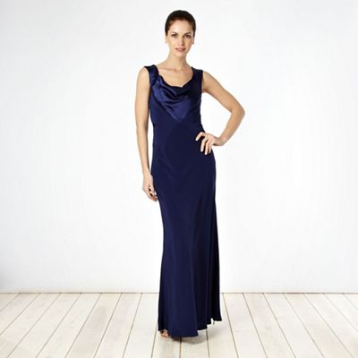 Debut dark blue seed beaded cowl neck maxi dress