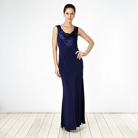 Pearce II Fionda - Designer navy satin trimmed cowl neck maxi dress