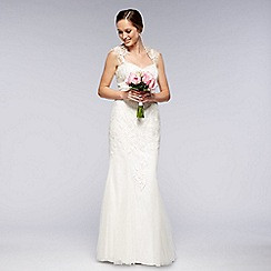 Pearce II Fionda - Designer ivory embroidered mesh bridal gown