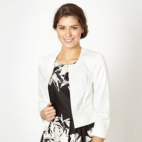 Debut - Ivory collarless cropped formal jacket