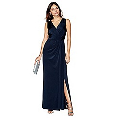 Debut - Navy jersey 'Joules' V-neck full length evening dress