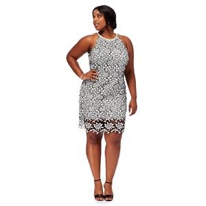 Debut Black 'Briony' round neck plus size pencil dress