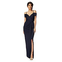 Debut - Navy 'Khalee' V-neck cold shoulder full length evening dress