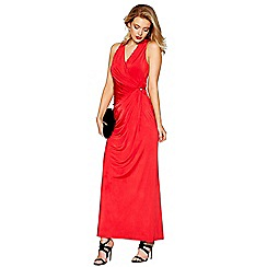 Debut - Red jersey 'Josephine' V-neck full length evening dress