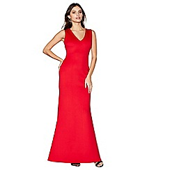 Debut - Red scuba 'Saffi' v-neck maxi dress