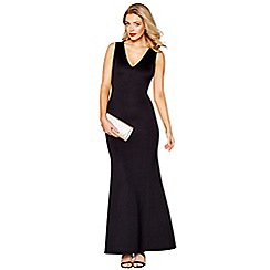 Debut - Black scuba 'Saffi' v-neck maxi dress