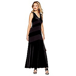Debut - Black velvet v-neck evening dress