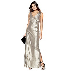 Debut - Gold metallic v-neck maxi dress