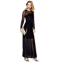 Debut - Black sequinned long sleeve full length evening dress