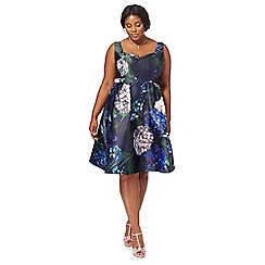 Debut - Navy floral 'Hydrangea' plus size prom dress