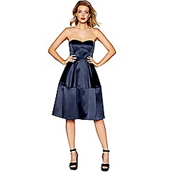 Debut - Navy satin 'Sadie' knee length prom dress