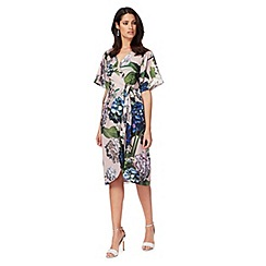 Debut - Light pink floral print knee length plus size wrap dress