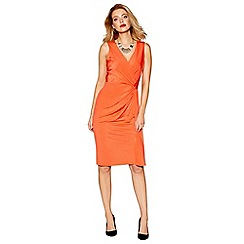 Debut - Orange 'Joules' V neck wrap dress