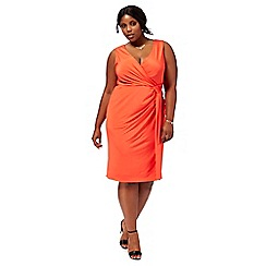 Debut - Orange 'Joules' V neck plus size wrap dress